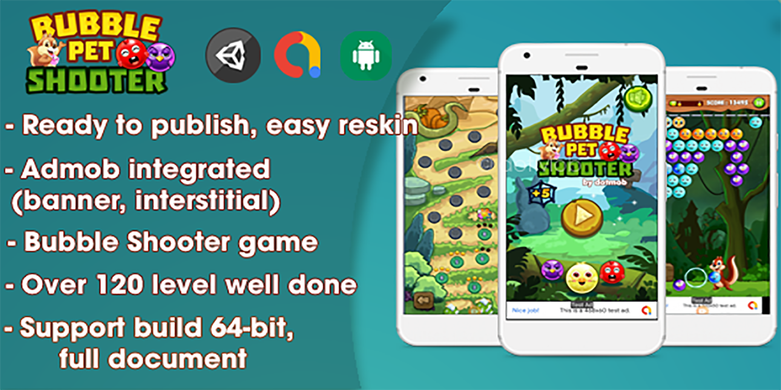 Bubble Shooter Pet - Unity Complete Project (Android + iOS + AdMob)